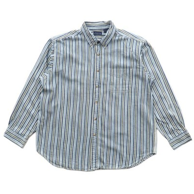 EDITIONS ボタンダウンシャツ ストライプ 長袖 ブルー サイズ表記:XL