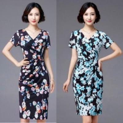 ミニドレス パーティードレス タイトスカート ミニ ドレス ワンピース 袖付き 花柄 半袖 タイトドレス 大きいサイズ