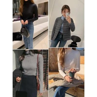 Zemma World レディース ニット/セーター Soft Basic Ribbed Turtleneck Knitwear