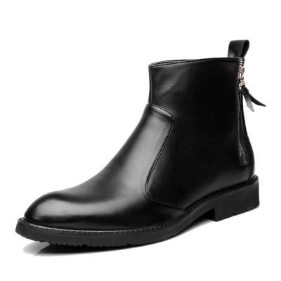 ショートブーツ メンズ レザー 革靴 チェルシーブーツ インヒール ローヒール ロングノーズ ローファー 紳士靴 エナメル カジュアル
