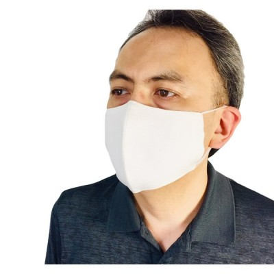 洗って繰り返し使える 麻100% 日本製 抗菌素材のやわらか布マスク 白 茶色 男女兼用 立体凸型