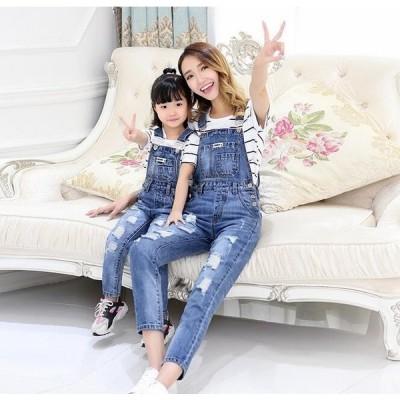 デニムパンツサロペット親子ペアルック姉妹お揃い家族お揃い母女パンツ男の子カジュアルオーバーオールキッズウェア韓国風ダメージ