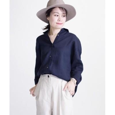 SHIPS for women/シップスウィメン サフィランリネンビッグシャツ ネイビー 38