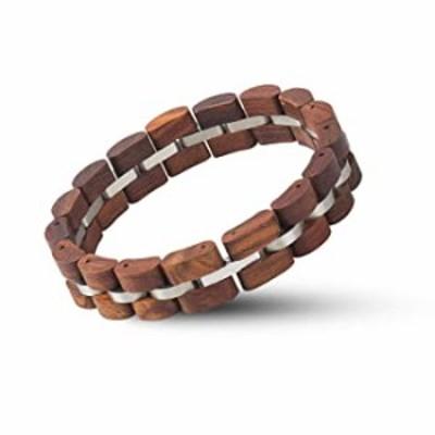 BOBO BIRD Womens Wooden Bracelet Stylish Wood & Stainless Steel Combined Adjustable Wooden Bangle Jewelry (S04-2)