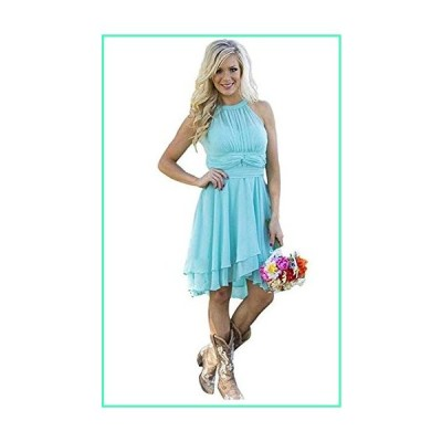 Meledy Women's Knee Length Country Bridesmaid Dresses Western Wedding Guest Dresses Short Maid of Honor Gown Blue US08並行輸入品