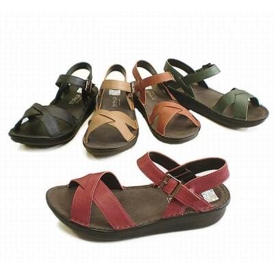 サンダル レディースシューズ レディースファッション 靴 本革 バックバンド S M L LL 5色展開 爪先のかえりよい 船底タイプ 楽ーコンフォート 歩行に最適