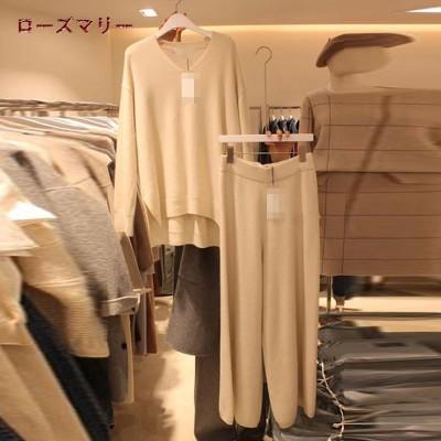 ローズマリー  韓国ファッション🌸2020 11月 新品販売 長袖カバー セーター ハイネックセーター   メリヤス +ウエストのゆるいワイドパンツ  ワイドパンツ  2点セット  2011126