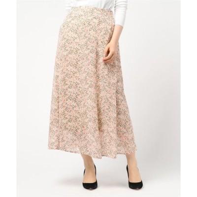スカート シフォン花柄フレアマキシスカート
