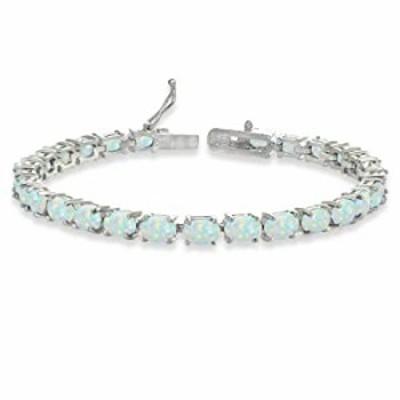 Sterling Silver 6X4mm Synthetic White Opal Oval-cut Tennis Bracelet