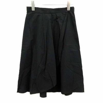 【中古】スピック&スパン ノーブル Spick&Span Noble スカート フレア ひざ丈 36 黒 ブラック /KH ■BR レディース