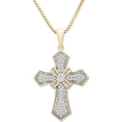"""メイシーズ Macy's レディース ネックレス Diamond Cross 22"""" Pendant Necklace (1 ct. t.w.) in 14k Gold-Plated Sterling Silver Gold Over Silver"""