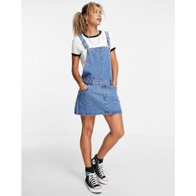 オンリー レディース ワンピース トップス Only pinafore dress in washed blue