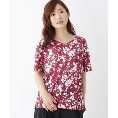 tシャツ Tシャツ 【M-L】花柄エスパンディプルオーバー
