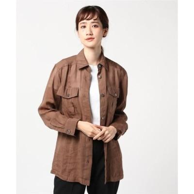 ジャケット ブルゾン 【洗える】ラミーレーヨンシャツジャケット