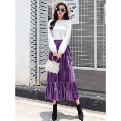 スカート プリーツスカート ロング プリーツスカート大きいサイズ カラープリーツスカート ロングプリーツスカート ロングフレアスカート