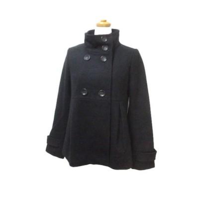 【中古】コントワーデコトニエ COMPTOIR DES COTONNIERS コート ショート ダブル スタンドカラー 黒 ブラック ウール 36 Sサイズ相当 X レディース