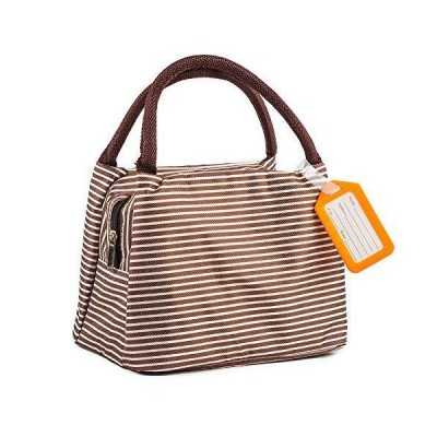 保温 保冷ランチバッグ お弁当袋 大容量5.5L 軽量 防水 洗える 通勤 通学 収納便利 5色をご用意 (コーヒーストライプ)
