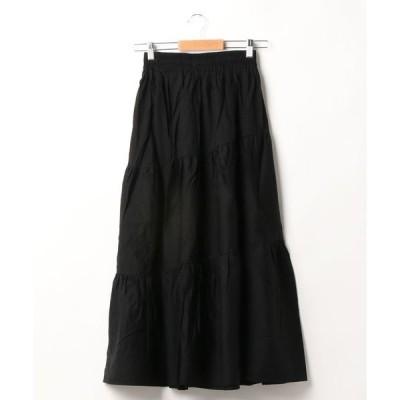 スカート コットン100% ティアードロングスカート