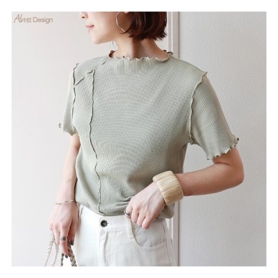 送料無料 6001450テレコリブ 半袖 メロー Tシャツ カットソー おしゃれ シンプル ML