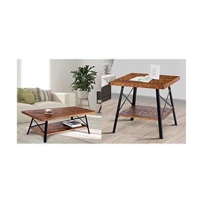 """Olee Sleep 46"""" Cocktail Wood Metal Legs Coffee Table, Rustic Brown & 24"""" Solid Wood Dura Metal Legs End Table, Rustic Brown【並行輸入"""