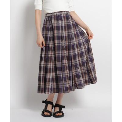 Dessin(Ladies)(デッサン(レディース)) 【S~Lサイズあり・洗える】ローンチェックフレアスカート