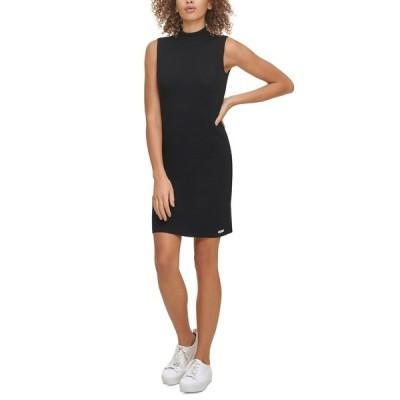 カルバンクライン ワンピース トップス レディース Sleeveless Mock-Neck Sweater Dress Black