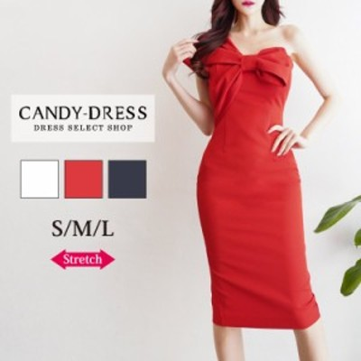 S/M/L 送料無料 Luxury Dress ストレッチ無地×ビッグリボンデザインワンショルダータイトミディドレス TR200103 膝丈 ワンピース 韓国