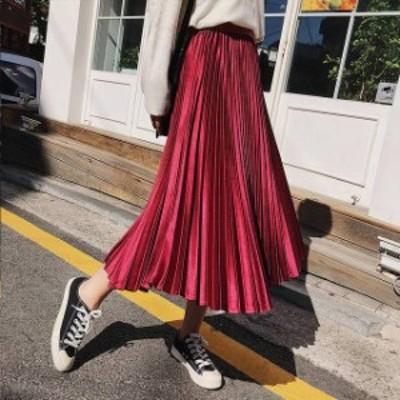 ロングスカート 秋 秋冬 冬 プリーツロングスカート プリーツスカート ロング サテン スカート