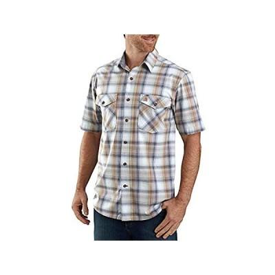 Carhartt Men's Soft Blue Rugged Flex Bozeman Plaid Short Sleeve Work Shirt