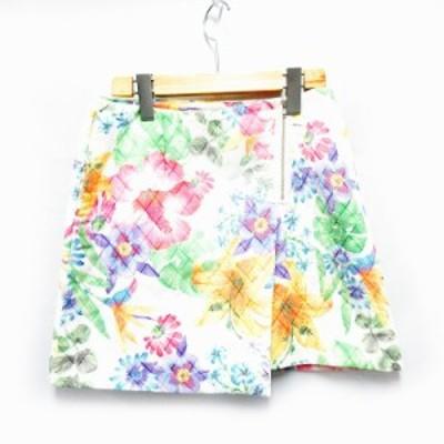 【中古】カージュ Khaju スカート 台形 ひざ丈 花柄 27 白 /SH レディース