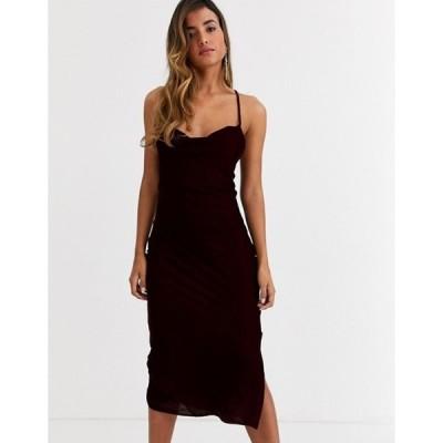 エイソス レディース ワンピース トップス ASOS DESIGN cami midi slip dress in velvet with lace up back