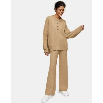 トップショップ Topshop レディース ボトムス・パンツ knitted trousers in beige ヌードカラー
