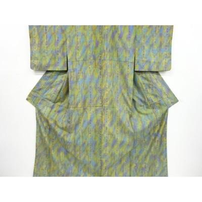 宗sou 抽象模様手織り節紬着物【リサイクル】【着】