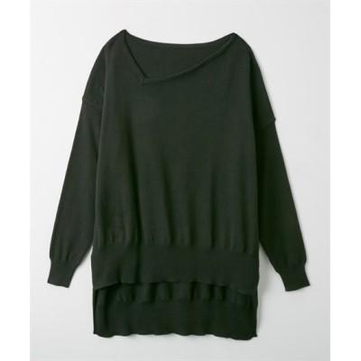 洗濯機で洗える綿100%変形ネックバックロングニット (ニット・セーター)(レディース)Knitting, Sweater, テレワーク, 在宅, リモート