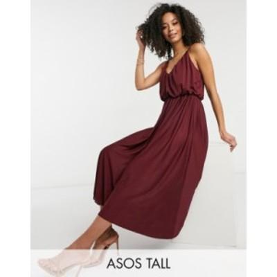 エイソス レディース ワンピース トップス ASOS DESIGN Tall cami plunge midi dress with blouson top in oxblood Oxblood