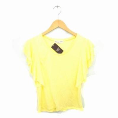【中古】Paradaise Picnic タグ付き Tシャツ カットソー  丸首 フリル 無地 半袖 F 黄 イエロー /TT36 レディース