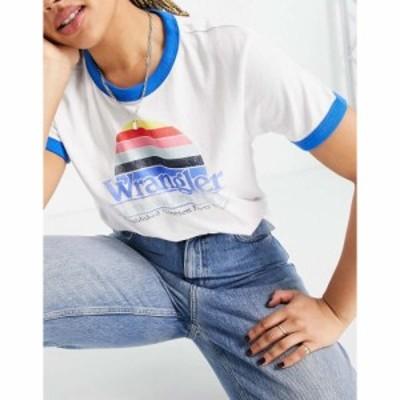 ラングラー Wrangler レディース Tシャツ ロゴTシャツ トップス regular fit tee with stripe logo in white ホワイト