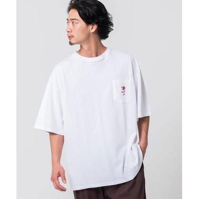 【シルバーバレット】 CavariAワンポイントバラ刺繍半袖ビッグTシャツ メンズ ホワイト 44(M) SILVER BULLET