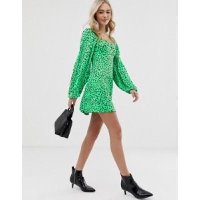 エイソス レディース ワンピース トップス ASOS DESIGN mini dress with sweetheart neck in green spot Green spot print