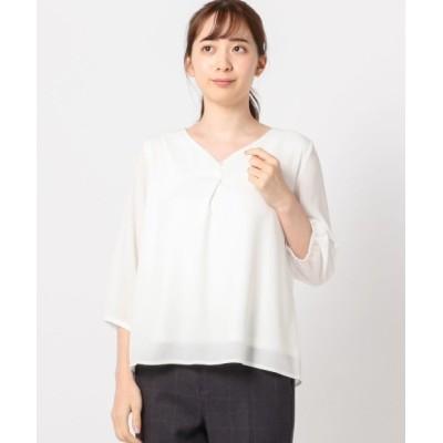 MEW'S REFINED CLOTHES / ハートネックパール7分袖ブラウス WOMEN トップス > シャツ/ブラウス