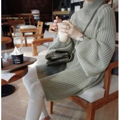 トップス セーター ニット ローゲージ 長袖 オーバーサイズ ハイネック スリット ゆったり 大きいサイズ 秋冬 カジュアル 大人可愛い