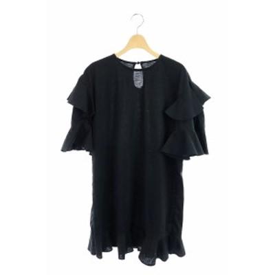 【中古】ドレスキャンプ DRESSCAMP ワンピース フリル ひざ丈 七分袖 38 黒 /KN ■OS レディース