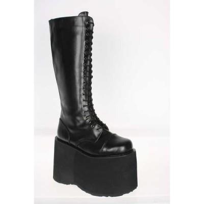 ブーツ シューズ 靴 デモニア DEMONIA メンズ Platform Lace Up ブラック Pu Costume ニーハイ ブーツ MEGA-602 Blk Pu