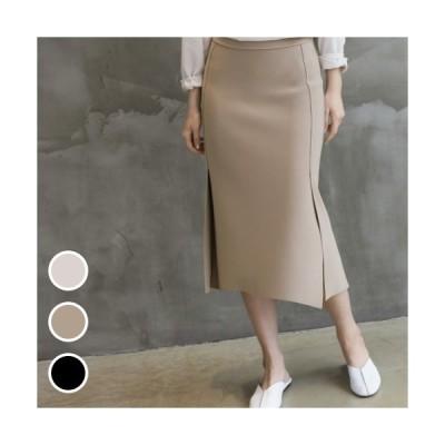 スカート サイドスリット レディース 40代 50代 60代 ファッション おしゃれ 女性 上品 黒 ベージュ Hライン スカート 無地 秋冬 ミセス