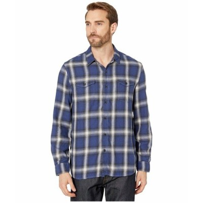 トゥルーグリット シャツ トップス メンズ Spirit In The Sky Bowery Checks Cotton Blend Long Sleeve Two-Pocket Shirt Blue