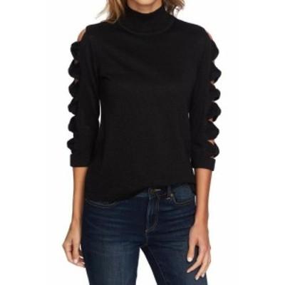 CeCe  ファッション トップス CeCe Womens Sweater Black Size XL Mock Neck Cutout-Shoulder Shimmer