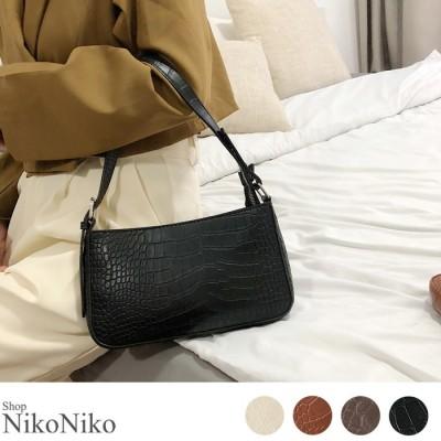 ShopNikoNiko クロコ柄スクエア2wayバッグ バッグ 鞄 カバン ハンド クロコ アニマル レザー シンプル スクエア 大人 かわいいコンパクト トレンド 韓国ファッション レディース ベージュ フリー レディース