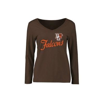ファナティックス カレッジ 大学 スポーツ NCAA アメリカ USA 全米 Bowling グリーン St. Falcons レディース ブラウン Dora スリム Fit 長袖 Tシャツ