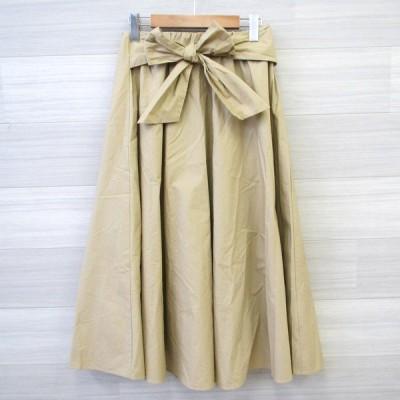 オメカシ スカート フレア ギャザー ロング丈 無地 ウエストリボン レディース フリーサイズ W66cm ベージュ Omekashi スカート M13308-10●