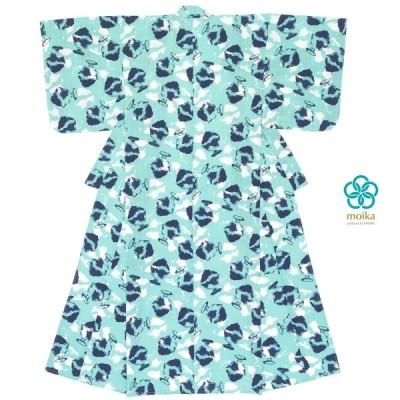 浴衣 レディース レトロ moika 水色 青 白 かき氷 綿 変わり織り 夏祭り 花火大会 女性用 仕立て上がり 送料無料 sale◎